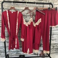 Summer Women Satin Sleepwear 5 Pieces Pyjamas Sexy Lace Pajamas Silk Night Home Clothing Pajama Suit