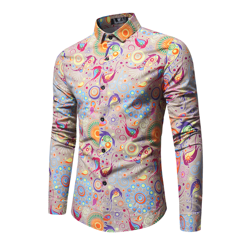 Mens Fashion Print Long Sleeve Casual Shirt  2018 Brand New Spring Male Floral Print Shirt Men Dress Shirt Camisa Social + 3XL ...