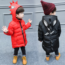 New Boys Winter Jacket Hooded red and black color coats Jongens Winterjas Boys Winter Jacket недорого