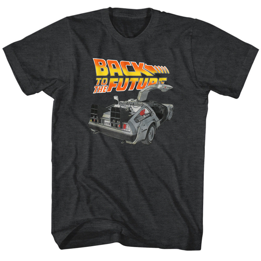 Back To The Future T Shirt Mens NEW BTF CAR In Black Heather Sizes in SM - 5XL