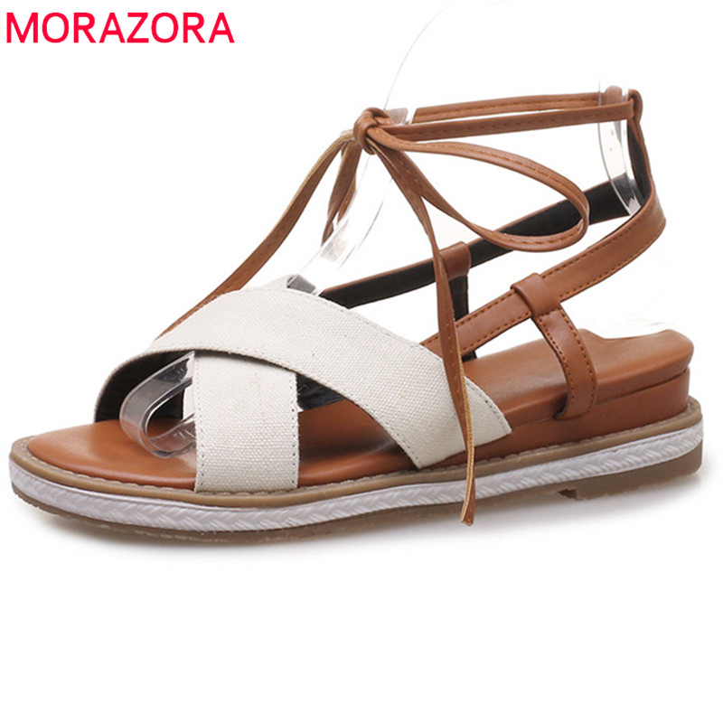 MORAZORA 2018 hot sale new fashion mixed colors summer shoes sexy cross tied casual sandals women comfortable wedges shoes woman