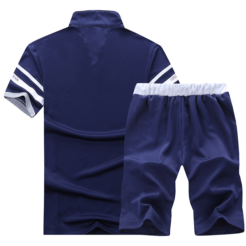 Casual Suit Men Summer Sets Tracksuits Brand Clothing Stand Collars Streetwar Tops Tees+shorts Fashion Mens Set Camisetas Hombre #2
