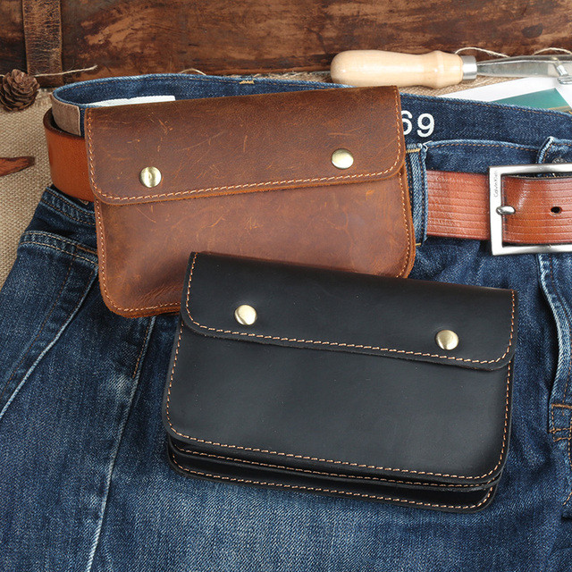 Men Genuine Leather Waist Bag Crazy Horse Pack Belt Loop Hip