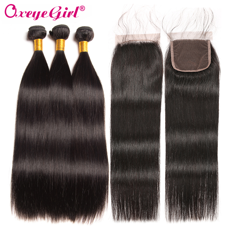 Straight Hair Bundles With Closure Brazilian Hair Lace Closure With Bundles Human Hair 3 Bundles With