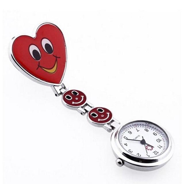Timezone#30 Nurse Pocket Watch Red Heart Shape Quartz Movement Nurse Brooch Fob