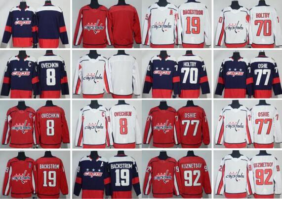 bc77d4c035a Washington Capitals Hockey Jerseys #8 Alex Ovechkin 68 Jaromir Jagr 19  Nicklas Backstrom 70 Braden Holtby 77 T.J. Oshie