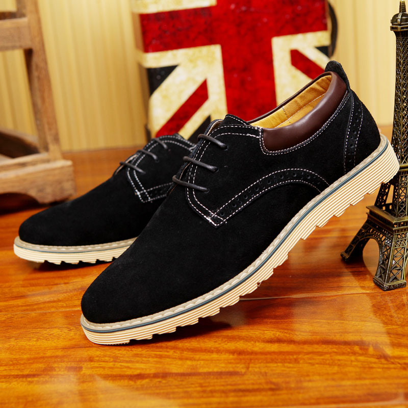 2017 Limited New Plus Size Cowhide Men Shose Fashion Casual British Genuine Leather Shoes Low Lace-up Flat Mens Oxfords For