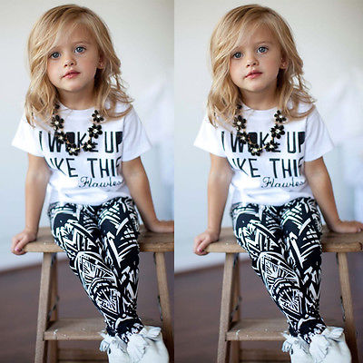 Hot Baby Girls Stripe I Woke Up Like This Toddler shirt and Pants Outfits Set children clothes outfit 2pcs