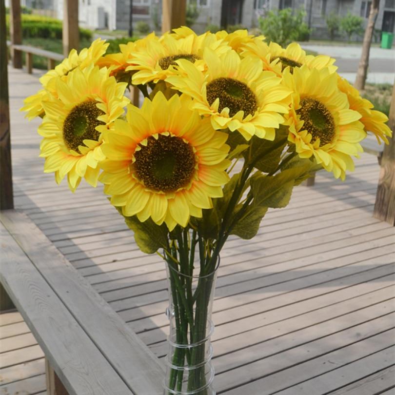 Sunflower Fake Sun Flower Artificial Sunflowers 72cm Long For Home Garden Balcony Windowsill Decoration Yellow Color
