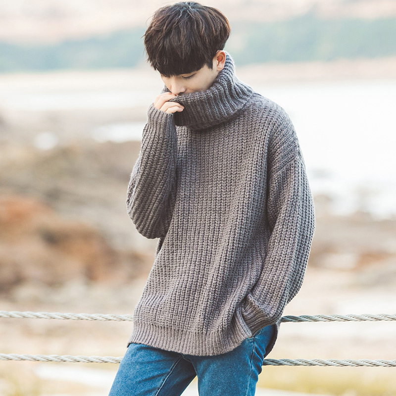 Fashion 2019 Indoor Casual Turtleneck Loose Hip Hop Male Students Winter Warm Pullovers Elastic Shirts Teenagers Sweater