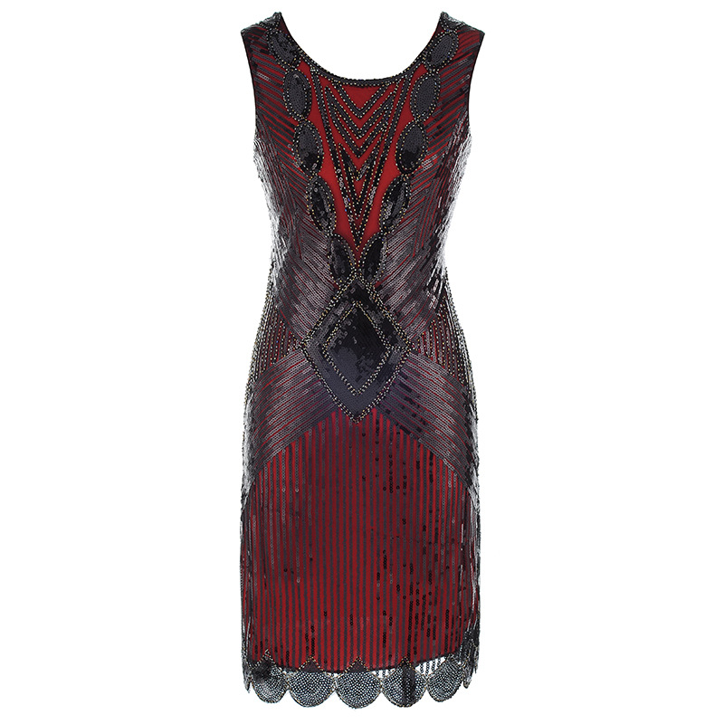 Image 5 - Top Gold Red Black Vintage sequin embroidery Sexy Prom Women Cocktail Dresses Party Dresses Vestido De Festa Curto De Luxo 64450Cocktail Dresses   -