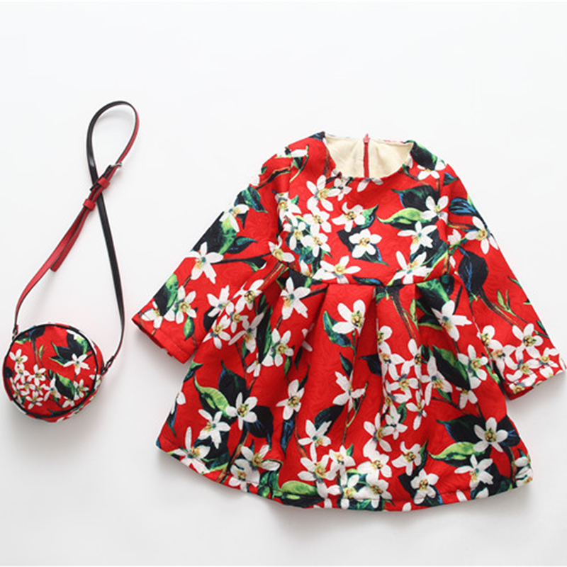 Winter Girls Dress+Bag With Velvet China Style Flowers Dresses For Girls Children Warm Clothes Kids School Fashion Cotton Dress
