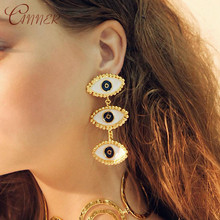 CANNER Gold Dripping Oil Evil Eye Drop Dangle Earrings For Women Fashion Jewelry Trendy Statement Earring Geometric Long