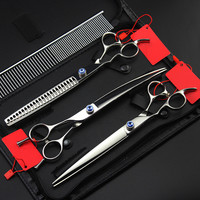 4 kit Professional japan left handed pet 8 inch shears dog grooming cutting hair scissors thinning barber hairdressing scissors