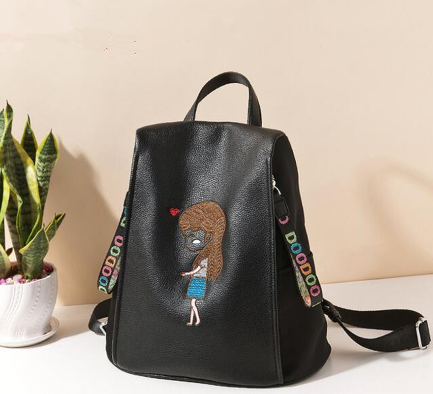 Original New Women Backpack Softback Travel Backpacks Korean Female PU Leather Women Mochilas Embroidery D536