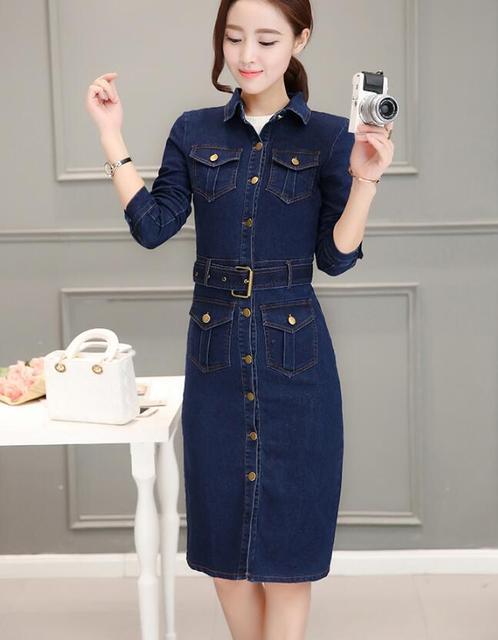 2018 womens collar button denim dress bodycon long denim dress belt long dress