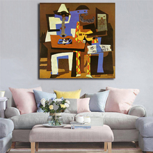 Poster Picasso Three Musicians Canvas Painting Print Living Room Home Decor Modern Wall Art Oil Painting Poster Salon Pictures billie eilish fan art poster canvas painting print living room home decor modern wall art oil painting salon pictures framework