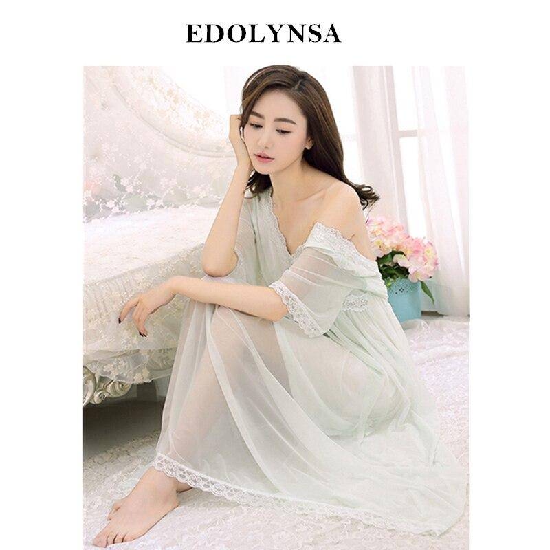 Lace   Nightgowns     Sleepshirts   Sexy Home Dress Solid Nightwear Women Sleepwear Soft Sleep Lounge Vintage   Nightgown   Female #H485