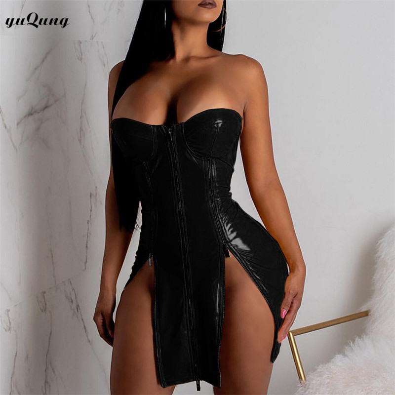 Women Shinny Faux Leather Off Shoulder Strapless Club Body con Mini Dress (K