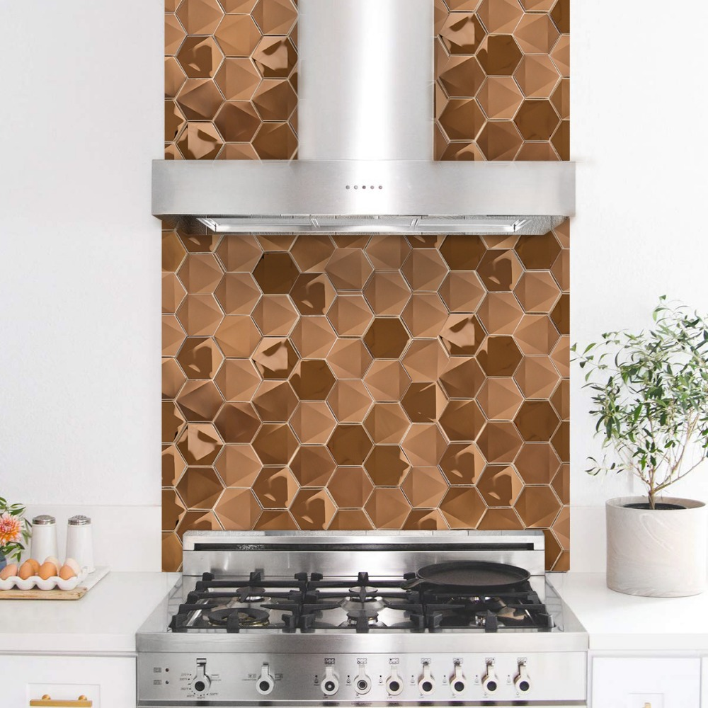 Wholesale 5 Pieces Rose Gold 3D Hexagon Stainless Steel House Decoration Mosaic Tiles 12 Inch Sanding Kitchen Wall Stickers in Wall Stickers from Home Garden