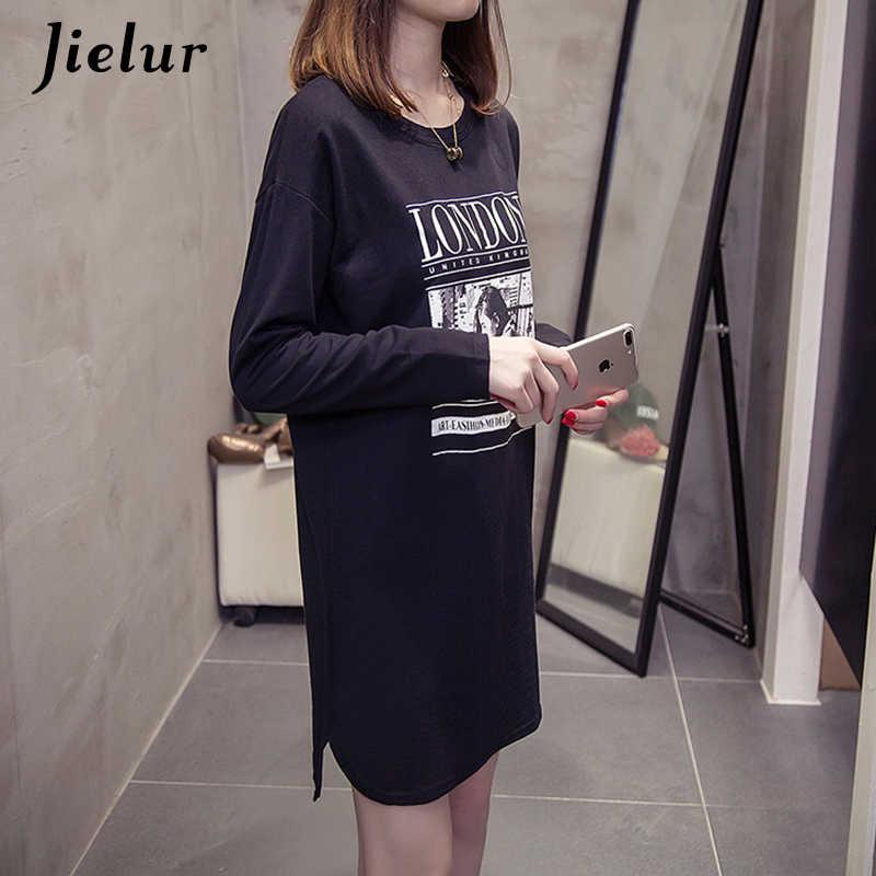 Jielur 2019 женская футболка с длинными рукавами и принтом осенняя модная Корейская футболка повседневные тонкие рубашки футболки белый черный Топ