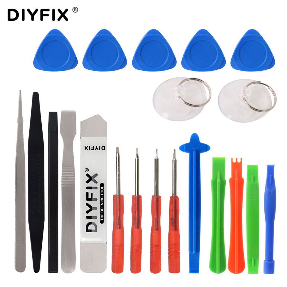 DIYFIX 21 in 1 Cellphone Repair Tools Kit Mini Screwdriver Set Screen Opening Pry Crowbar Pliers for iPhone Xs 8P iPad Samsung  5 in 1 screwdriver repair opening tools kit with interchangeable head for iphone samsung s6 htc one m9 motorola etc