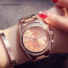 2015 Relogio Feminino Topp Märken Kvinnors Quartz Rhinestone Klockor Mode Märke Avslappnad Lyx Klänning Rose Gold Ladies Armbandsur