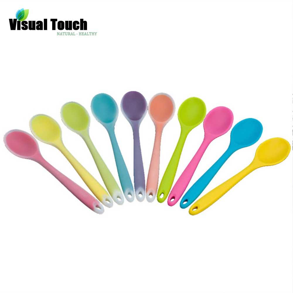 20.5cm Multi-Color Silicone Mini Soup Spoon Tablespoon