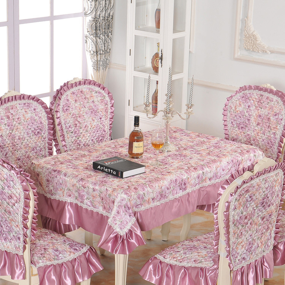 Elegant showy quilted table cloth thick chair covers cushion backrest restaurant dress Jacquard soft supple lace tablecloth