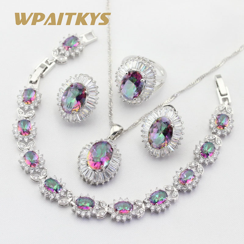 Bridal-Jewelry-Sets Bracelets Earrings Rings Pendant Necklace Crystal Rainbow Silver-Color