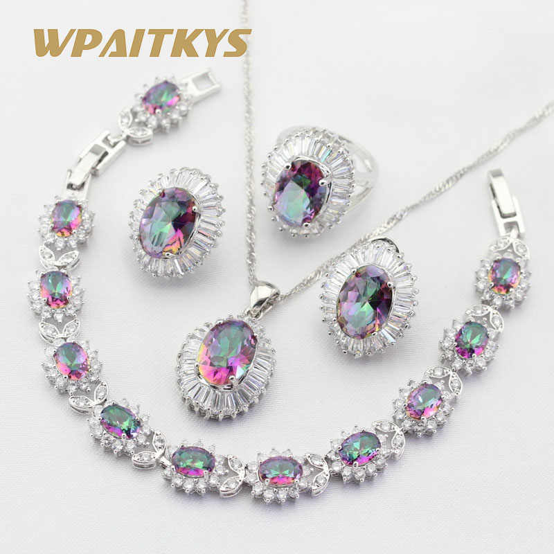 Silver Color Bridal Jewelry Sets For Women Multicolor Rainbow Crystal Necklace Pendant Bracelets Earrings Rings Free Gift Box