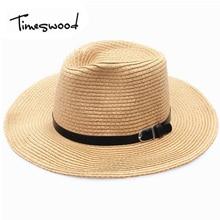TIMESWOOD Unisex Sunhats Summer Cow Boy Large Brim Hats Panama Jazz Mens Womens Fashion Beach Men Sweat Straw Caps With Strap