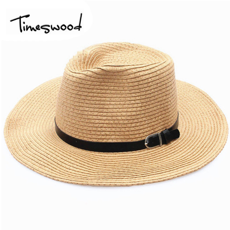 [TIMESWOOD] Unisex Sunhats Summer Cow Boy Large Brim Hats Panama Jazz Mens Womens Fashion Beach Men Sweat Straw Caps With Strap ...