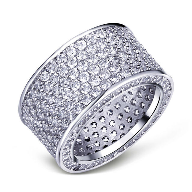 choucong Lovers Pave set 320PCS Stone 5A Zircon stone 10KT White Gold Filled Engagement Wedding Band Ring Sz 5-11 Gift