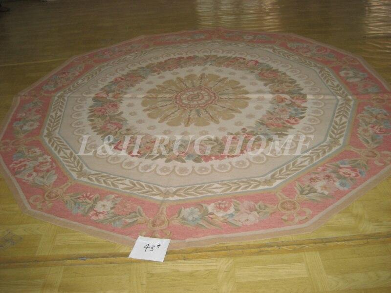 Livraison gratuite 8'X8' tapis rond Aubusson Roses en laine Aubusson pour tables rondes