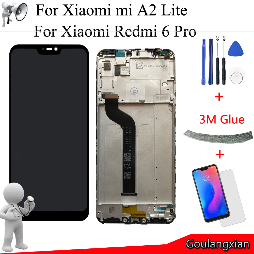 """5.84"""" AAA Quality LCD+Frame For Xiaomi Mi A2 Lite LCD Display+Touch Screen Digitizer Assembly For Xiaomi Redmi 6 Pro LCD Replace"""
