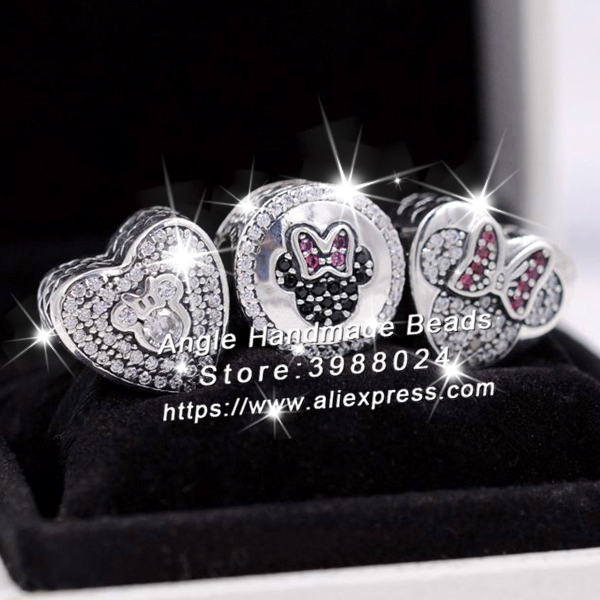 3pcs S925 Sterling Silver Minnie Mitch Heart CZ Charms Jewelry Set Fit DIY Bracelets Necklaces Jewelry Making Woman Gift брелок silver angel 120pcs diy 14x22mm a428 fit slide bracelets necklaces jewelry findings
