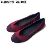 Maggie's Walker Women Fashion Round toe Knitted Casual Shoes Candy colored Shallow mouth Casual Flats Size 35~40