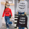 Children's 2017 spring new children's alphabet printing cutting holes hole bottom shirt boys and girls T-shirt for free shipping
