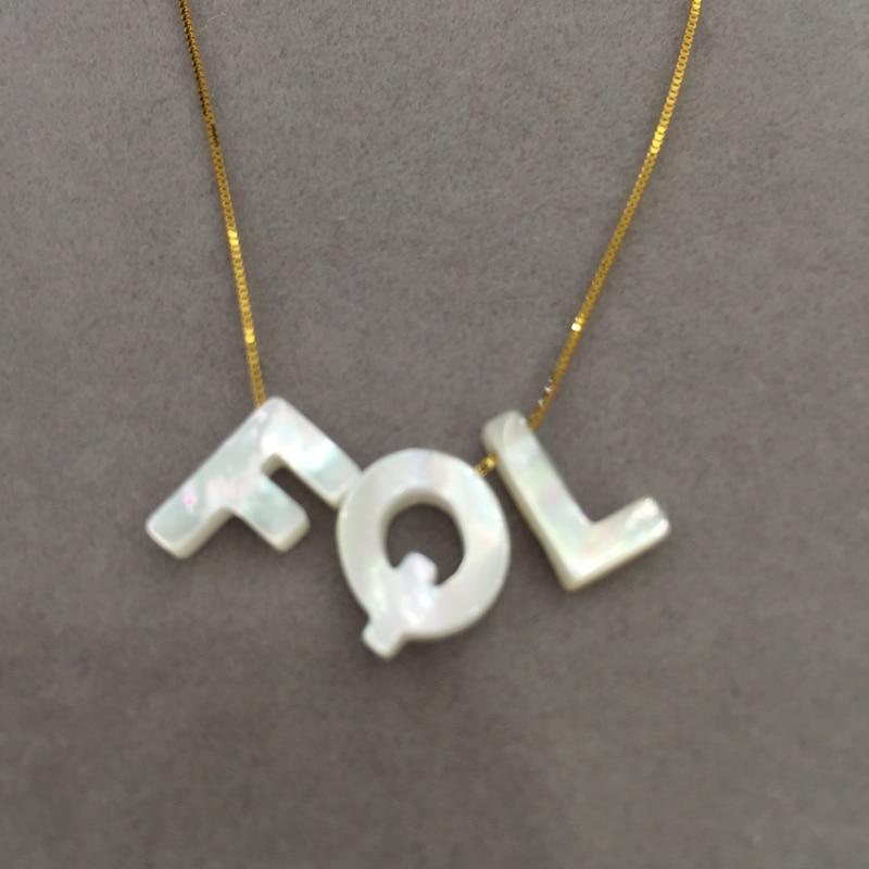 Natural sea shell Alphabet pendant necklace Name Necklace fashion jewelry natural alphabet n pink