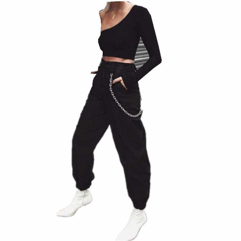 d4b22c0683e Hirigin Для женщин S Женские повседневные штаны Свободные Черный цвет и  цвет хаки Гарем Багги Хип