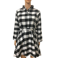 hot deal buy spring and autumn plaid long sleeve mini new dresses mamaan style casual sash empire plaid female dresses