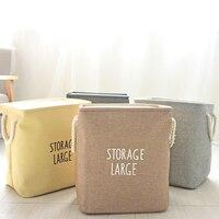 Beige Laundry Basket Clothes Barrel Bags Kids Toy Storage Bins Laundry asket Hamper Bag Canvas Clothes Storage Baskets
