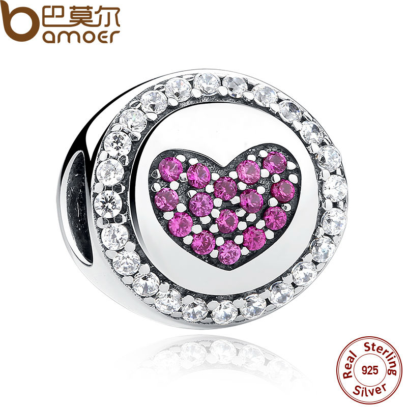 BAMOER Authentic 925 Sterling Silver Pink Heart Charms fit Bracelets Necklaces Mother Gift SCC014 цена