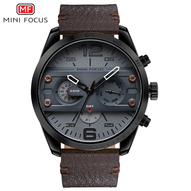 MINI FOCUS Chronograph Mens Casual Sport Quartz Watch Watches Top Brand Luxury Leather Army Military Wristwatch For Male