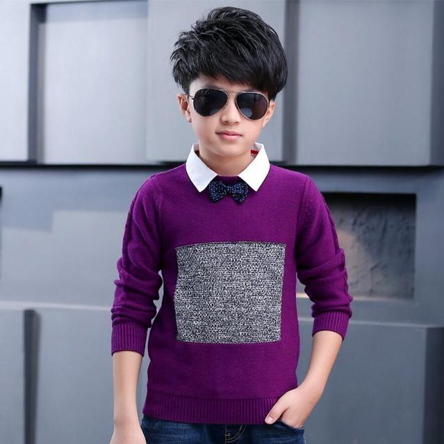 Heyuhao Spring Autumn Boy Sweaters Shirt Collar Small Bow Tie