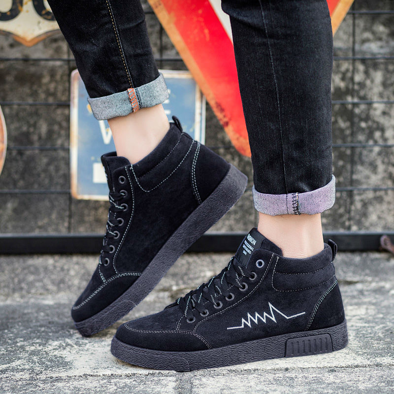 2018 Hot Men Casual Shoes Autumn Spring Korean Men Fashion Popular Geometric Pattern Canvas Boots Students High Top Flats Shoes