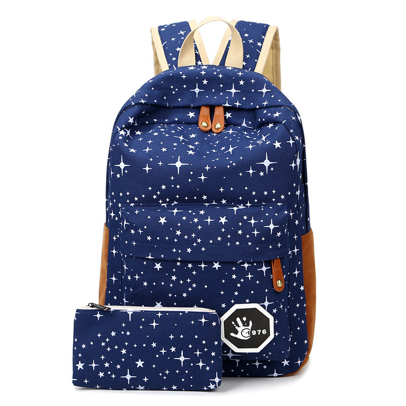 fresh Canvas Women Backpack big girl student book bag with purse laptop 2pcs set bag high quality ladies school bag for teenager