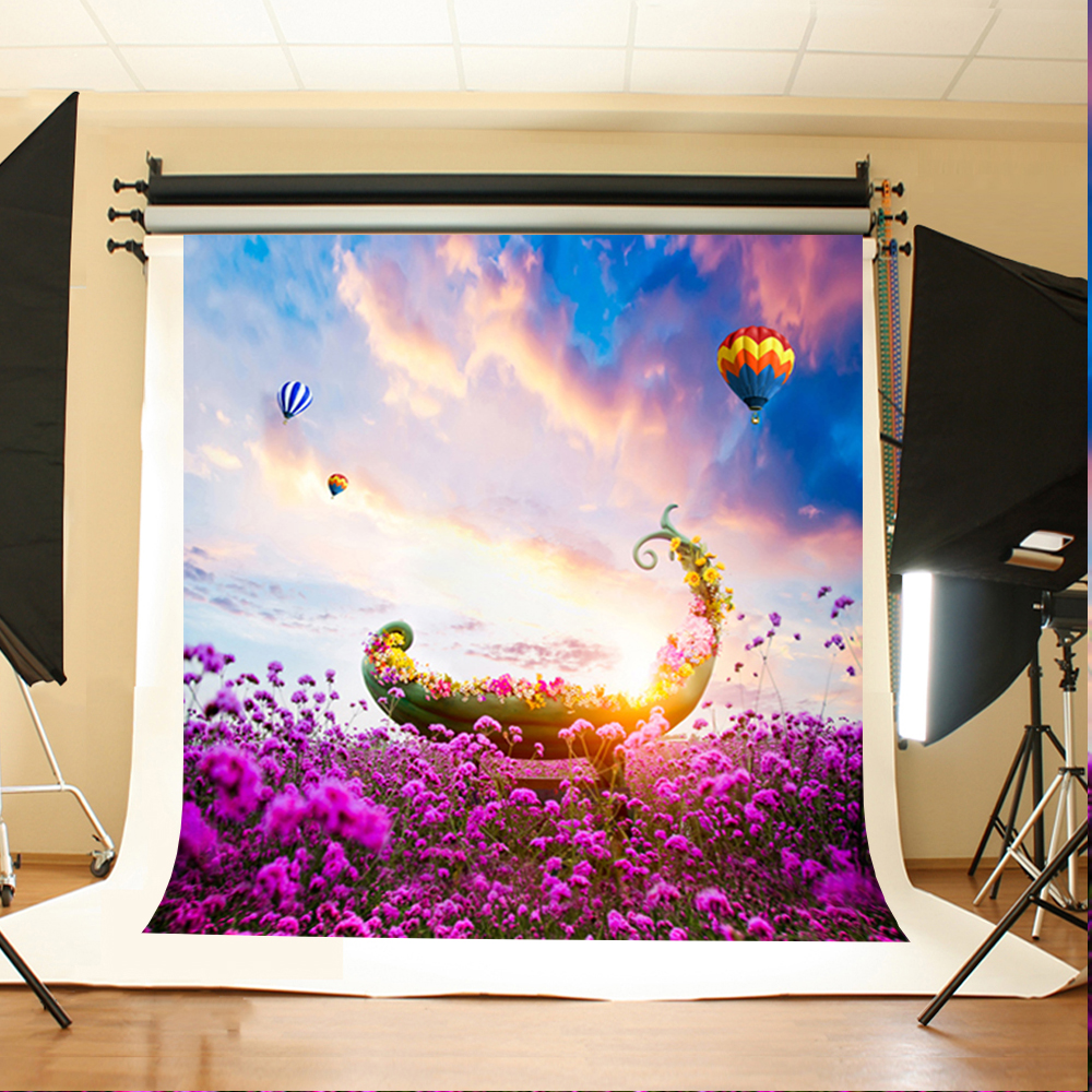 Wedding Photo Background Hot Air Balloon Flowers Computer Printing Backdrops Sky Clouds Background for Photographic Studio ao058m 2m hot selling inflatable advertising helium balloon ball pvc helium balioon inflatable sphere sky balloon for sale