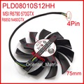 Frete Grátis POWER LOGIC PLD08010S12HH 12 V 0.35A 75mm 4wire 4 Pinos Para MSI R6790 R6850 N460GTX Gráficos 570GTX Ventilador de Refrigeração da placa